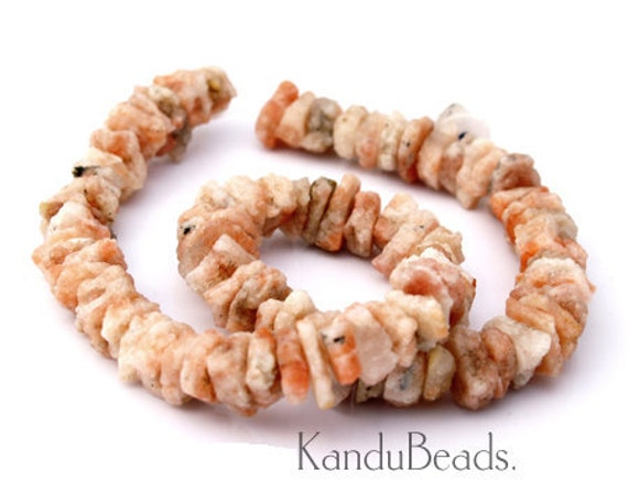 Peach MoonStone rough chip nugget Beads 12mm 16 inch strand