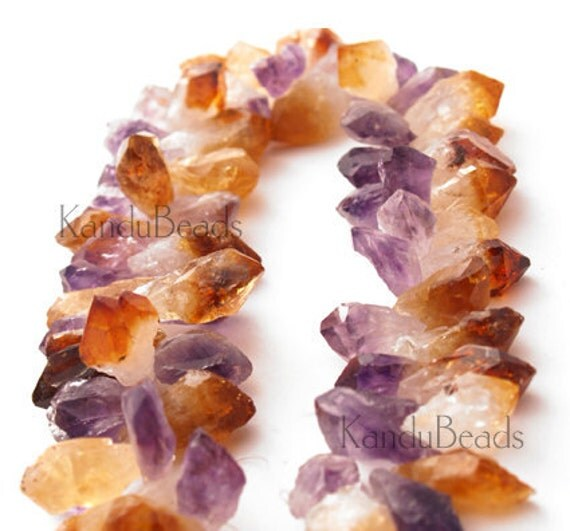 Meduim Amethyst Citrine Crystal Point Beads 20-35mm TD 7 inch half strand  Natural