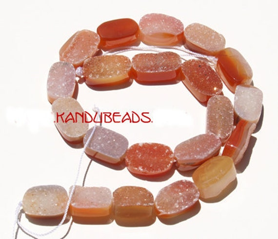 """Carnelian Agate Druzy rectangle Beads 20mm  orange, red whilte,7"""" Half strand (aprox 10 beads)"""