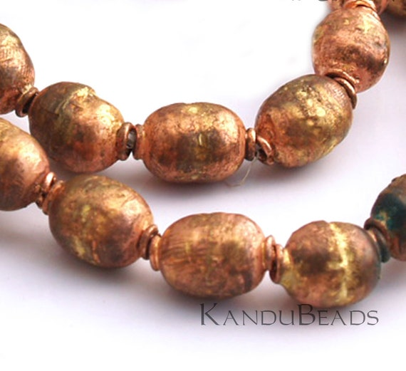 5 beads Rustic Handmade Ethiopian Prayer Beads Copper and Brass 8mm beads 10x14mm