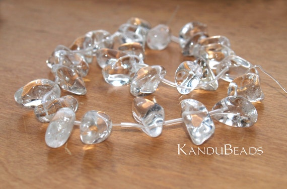 CLOSEOUT 50% OFF - Natural Rock Crystal Top Drilled Nugget Beads smooth 15-20mm 15 inch strand