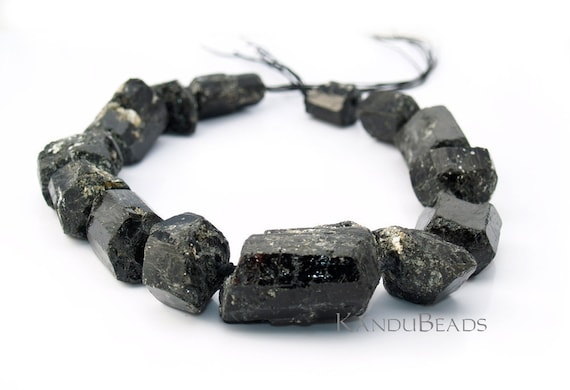 SALE - 1/2 PRICE - Giant Black Tourmaline rough Chunk Nuggets 15-50 mm 15 inch strand very rare (aprox 13-15 beads)