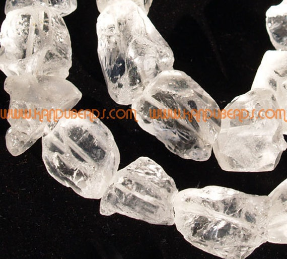 "SALE - NATUARL Rock Crystal Quartz Rough Nugget Beads White  15-20mm 15"""