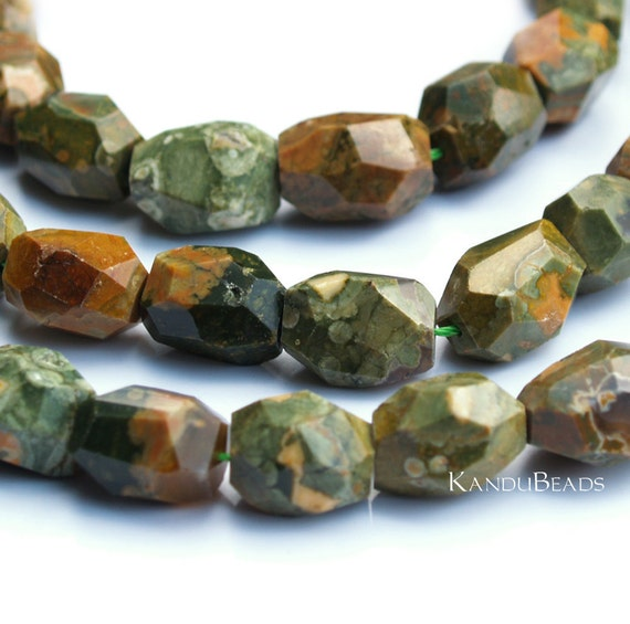 """Sale - Rhyolite Jasper Faceted Nugget beads 15"""" 15x20mm (aprox 20 beads) Green Brown Earthy Colors"""