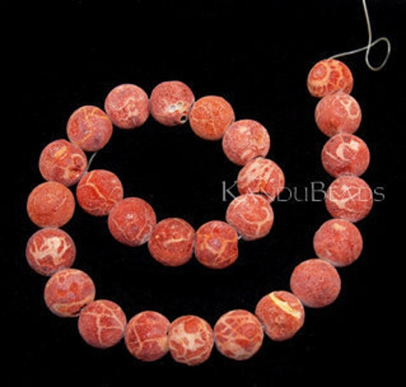 SALE - 1/2 PRICE - Red Sponge Coral large rough Round Beads 12mm 16 inch strand