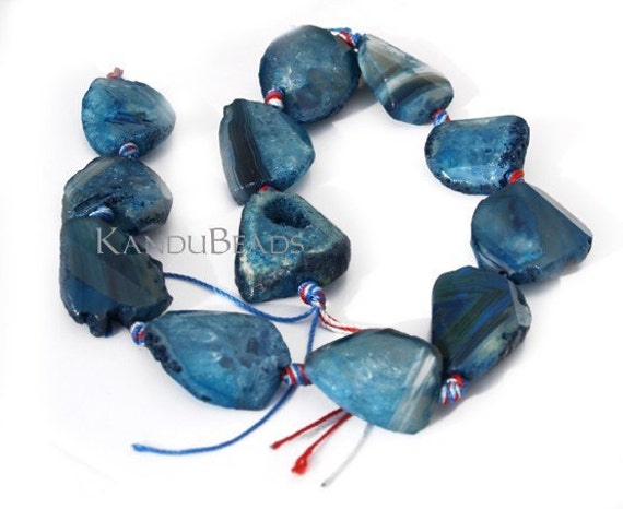 SALE 15% Off- Blue Agate Faceted twist slab Nugget Beads 230-40 mm 15 inch strand (aprox 10 beads)