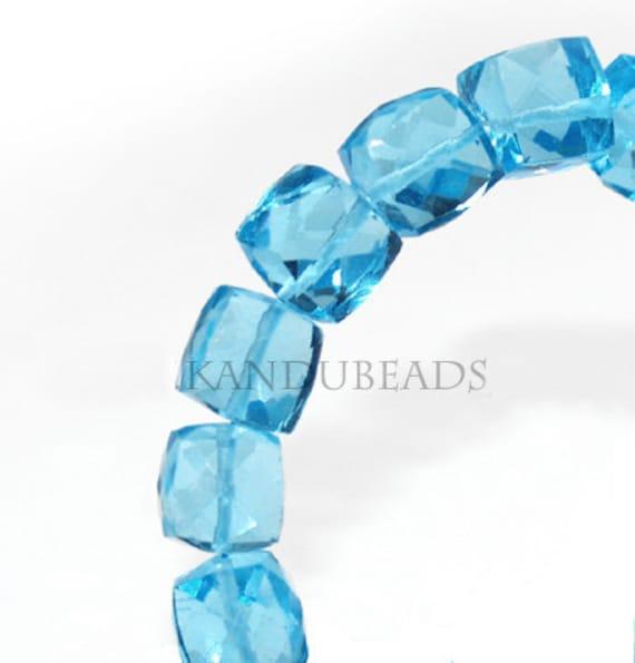 Pair Swiss Blue Topaz Facet  Cube Box Bead 6x6mm 7 carat