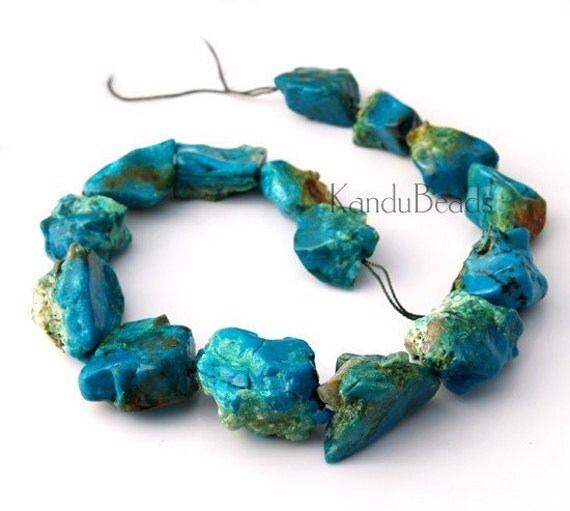 Chrysocolla Chrysoprase Parrot Blue Rough Nugget beads 22-38mm 7 inch (7-8 beads)