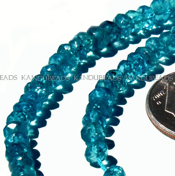 AAA NEON Blue Apatite FACET Rondelle beads 3mm 14 inch strand