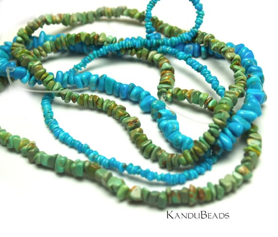 BLUE Kingman Arizona Turquoise, Chip Nugget beads 6mm 15 inch strand all natural