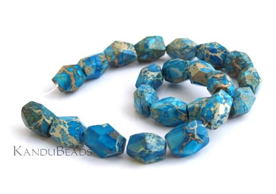 Impression Jasper (aqua terra jasper) Teal Turquoise Blue Tan Faceted Nugget Beads 13x18mm SELECT QUANTITY