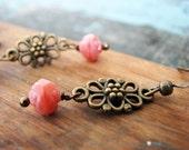 Rose Beaded dangle earrings