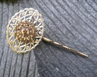 Champagne and Silver Crystal Bobby Pin