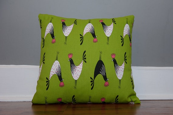special listing for Colette - Crowing in Chartreuse, Candy Pink, Black, and White   -   home decor fabric  ---  pillow cover