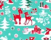 Christmas Yule Critter Aqua Michael Miller Fabric 1 yard