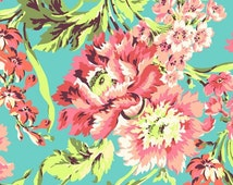 Remnant end of bolt 12 inches Amy Butler Fabric Bliss Bouquet Teal