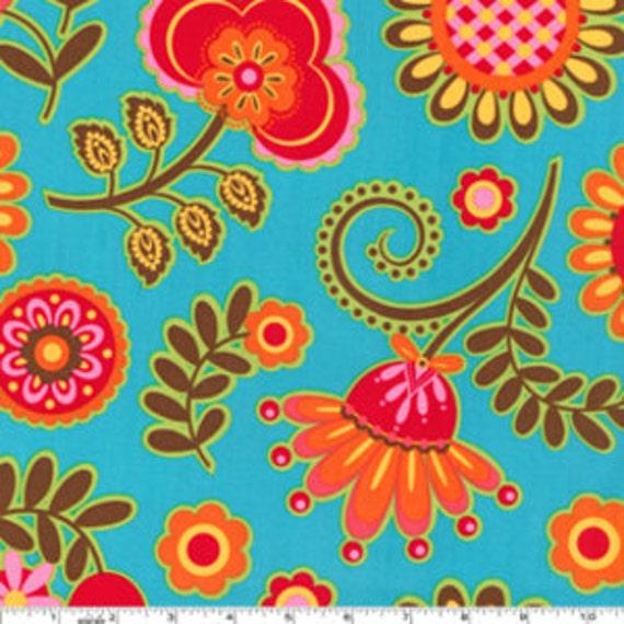 Ooh La La Bouquet De Fleurs Turquoise Michael Miller Fabric 1 yard, yardage available