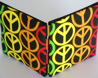 Magic Wallet, Peace, Peace Symbols, Red, Yellow, Orange and Lime on Black Mini Magic Wallet