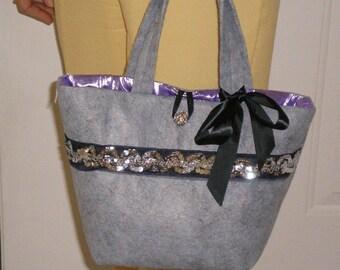 Handbag Silver Gray Sparkle Purse