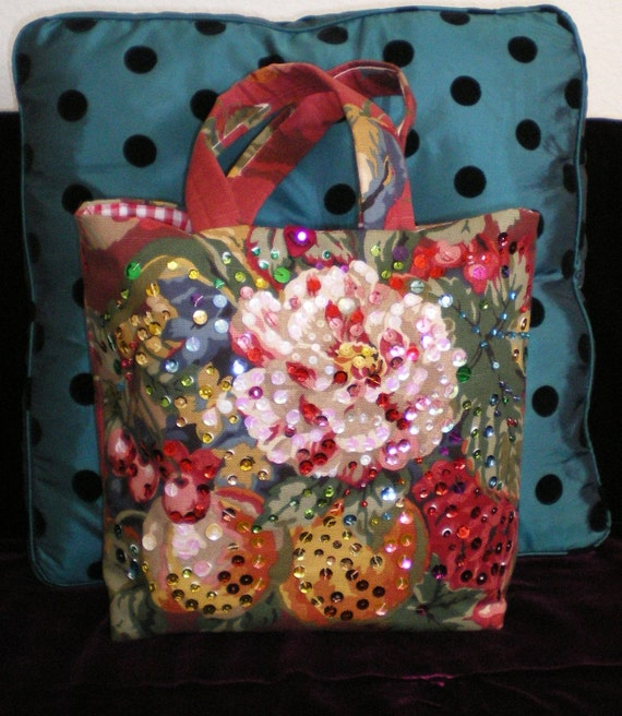 Reserved Bykylesmom Red Floral Sequin Purse FREE SHIP and 10% discount applied