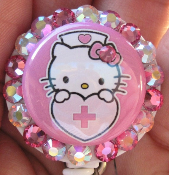 Hello Kitty Nurse Badge Holder ID retractable reel with SWAROVSKI CRYSTALS