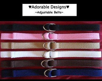 Boy/Girl  Childrens/Toddler/Kids  Adjustable D Ring Belts Perfect for School Uniforms- Many Sizes and Many Colors!