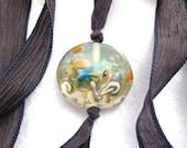 Closing Down Sale COAL Silk Wrap Bracelet Lampwork Glass Bead Handmade Aquarium SRA