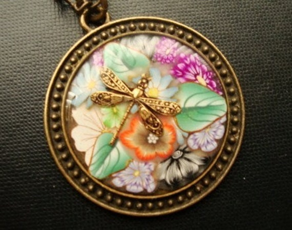SALE ITEM DRAGONFLY and FLOWERS Handmade OOAK Pendant in Antique Brass Setting RESIN Finish