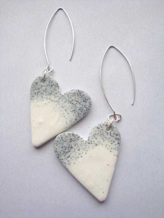 Love Hearts Start Dust Long HANDMADE Dangle Earrings Original Design