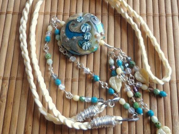 Closing Down Sale LAMPWORK Glass Bead Handmade Pendant SRA Ocean Beach with Silk and Czech Beads