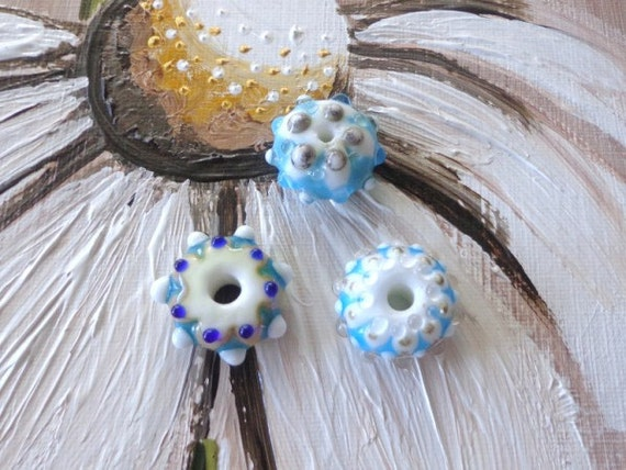 LAMPWORK Glass Beads (3) SRA Blue and White
