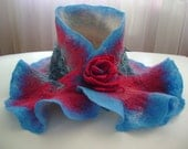 Nuno felted wool  neckwarmer scarflette neckpiece BLUE FIRE in a shade of Blue  and Red embellished with a Blue Rose  lace and a matching felted Rose  Pin Victorian style renaissance gifts under 50