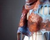 SALE Nuno collage felted Art scarf / shawl / wrap / shoulder warmer wool silk chiffon rayon ribbon OOAK rustic Brown Blue Red Caramel gift present epictt teamb