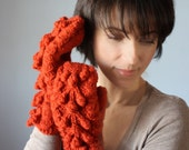 Super chunky Handknit cable  mittens/ gloves / armwarmers Paprika / Orange  long  classic