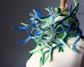 RESERVED  Summer Fish net felted Art  scarf / wrap / neckwarmer Cobalt Blue / Bright Green network  for her free gift wrap epictt teamb HMET