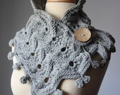 Hand knit cowl scarf / neckwarmer / wrap Silver Grey chunky bulky