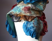 Nuno Felted scarf  Wool  Silk  Brown Burgundy Teal  collage Abstract Contemporary Original Modern Art