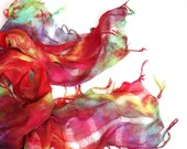 Handdyed cotton scarf summer spring  woven fringy bright red orange purple green super light