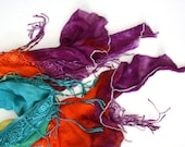 Handdyed cotton scarf summer spring asymmetrical  lace  fringy bright Turquoise Orange Purple super light