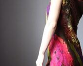 Mini dress summer fashion Chocolate mustard magenta wool silk cotton felt nuno felted size  small XS -S hot pink party