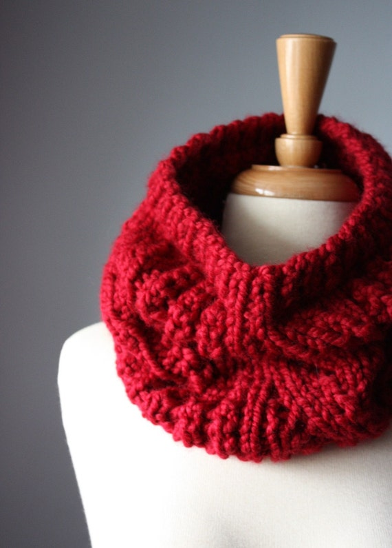SALE Handknit  Chunky Cable lace cowl - neckwarmer -scarf  Red / Cranberry fashion epictt etsy team teamb HMET