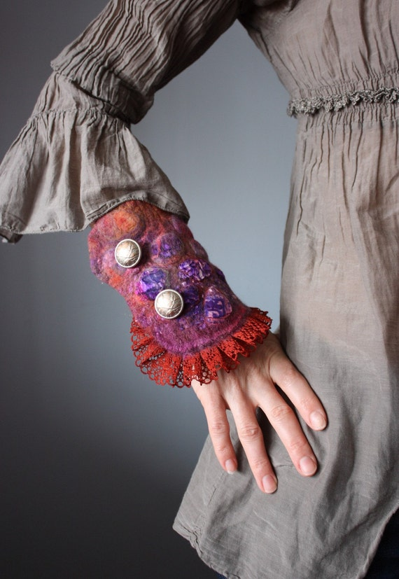 Textile Cuff Bracelet Nuno felted Burgundy Red Nutmeg soft Brown Rustic Felt Wool Silk bohemian chic Couture Victorian marie antoinette
