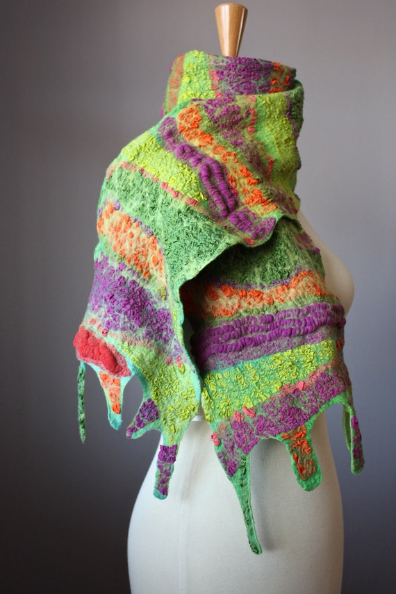 Felted scarf    Wool Silk Purple Orange Green collage Abstract Contemporary Original Modern Art wrap