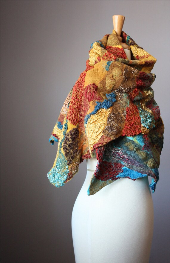 Nuno Felted scarf shawl Wool Silk Rust Brown Copper