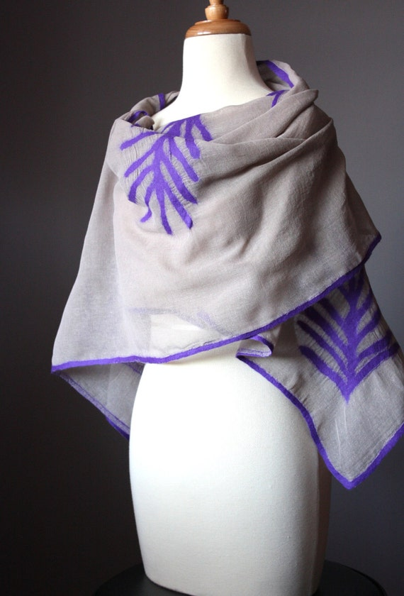 Nuno felted  sheer scarf shawl wrap cotton wool organic floral design natural purple stone  long