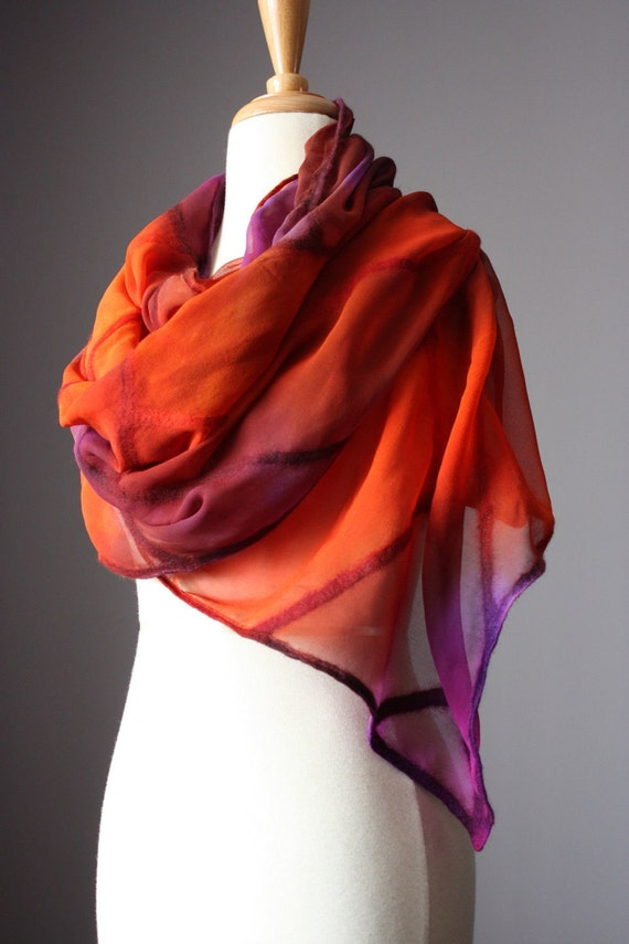 RESERVED Nuno felted scarf shawl wrap silk wool design brown purple orange floral hand dyed painted
