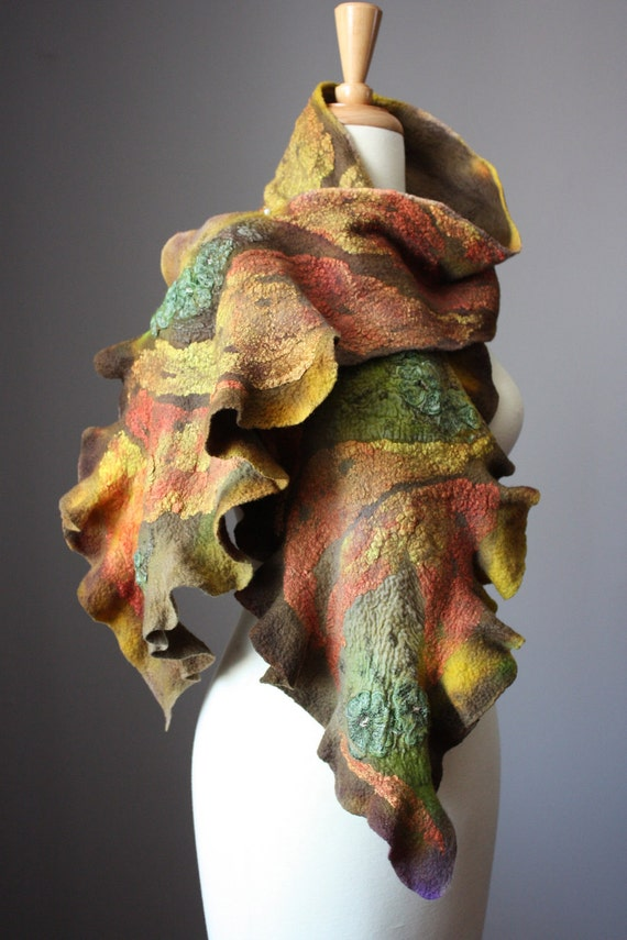 Nuno Felted scarf  Wool cotton lace  handdyed painted ruffled Mustard Red Green nunofelting earthy
