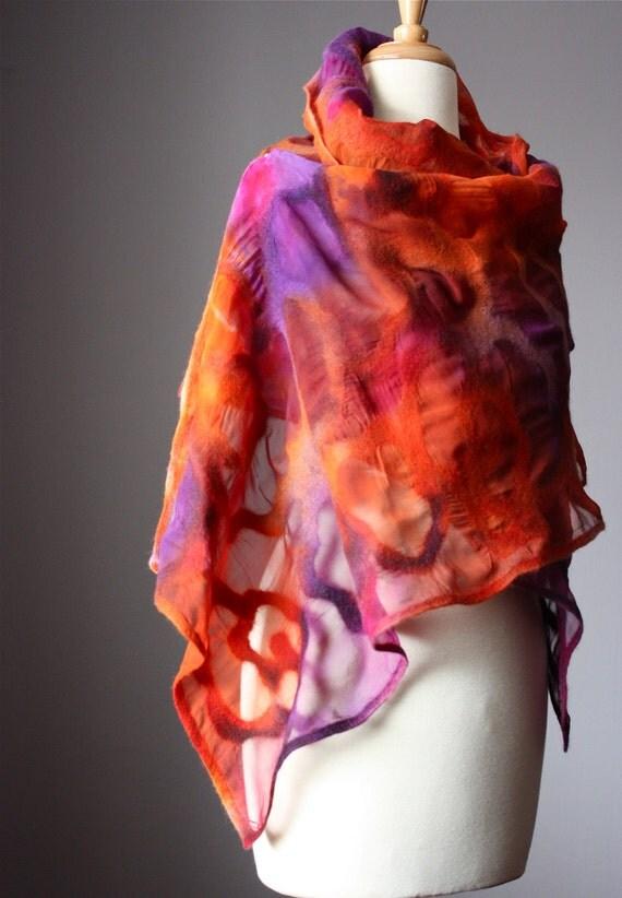 Nuno felted shawl wrap rusty Brown Orange Purple  wool silk Rose floral design