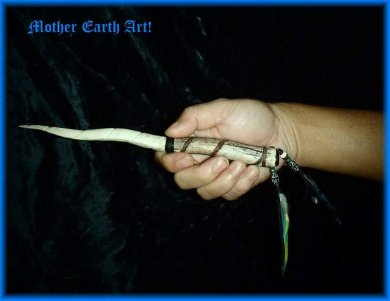 Unicorn Horn Antler Primitive  Knife Athame   with Mother of Pearl Parrot and Jay feathers rendesvous mountain man