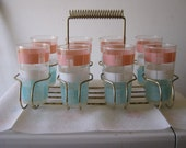 1950s drinking glasses colorful 8 in an original basket